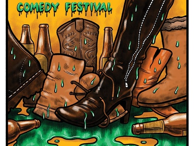 Comedy Festival Poster festival comedy drawing dirty boots boots poster artwork poster design illustration poster art