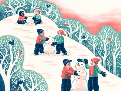 Winter Friends snowman kids friends winter drawing magazine illustration metro parent editorial art editorial illustration illustration