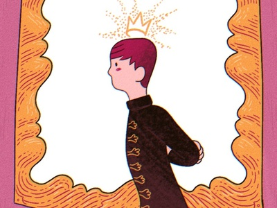 The Prince picture frame royalty yellow pink crown prince procreate digital illustration drawing illustration