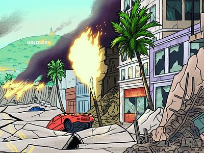 Escape the Quake drawing illustration boardgame earthquake losangeles