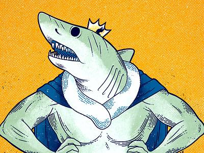 King of the Sharks crown king shark drawing digital illustration