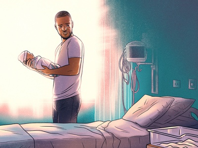 Maternal Mortality father newborn hospital baby black lives matter drawing editorial illustration editorial illustration