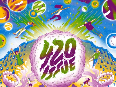 420 Issue psychedelic marijuana 420 cover illustration cover illustration editorial illustration editorial