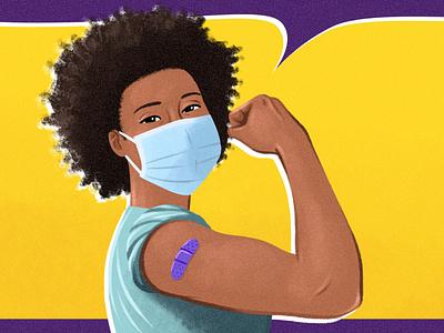Vaccine Rosie healthcare nurse black bandaid shoulder shot vaccine arm flex rosie the riveter