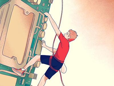 Climbing motherboard electronics computer climber rock climbing outdoors cartoon drawing digital illustration