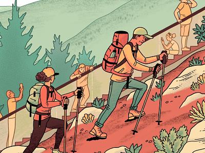 Hiking nature escalator lazy outdoors hiking cartoon digital drawing illustration
