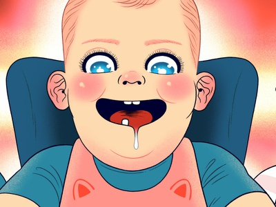 Hungry Baby high chair infant baby cartoon digital drawing illustration