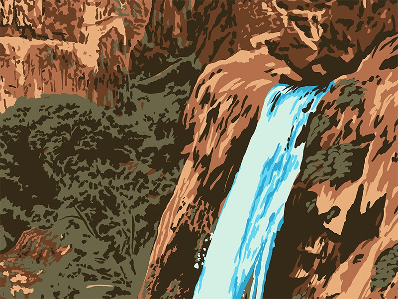Waterfallin' screen print poster national park travel outdoors trees rocks waterfall