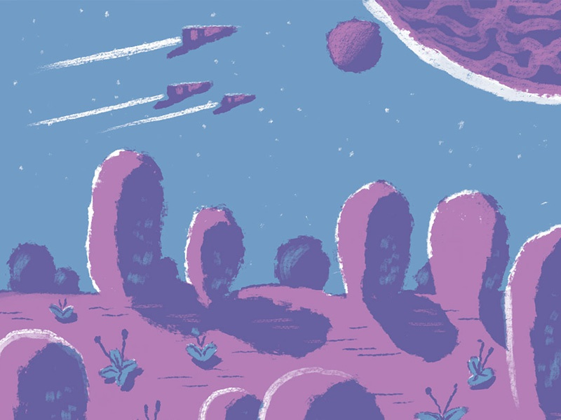 Two Color Test 2 space scene two color digital illustration drawing