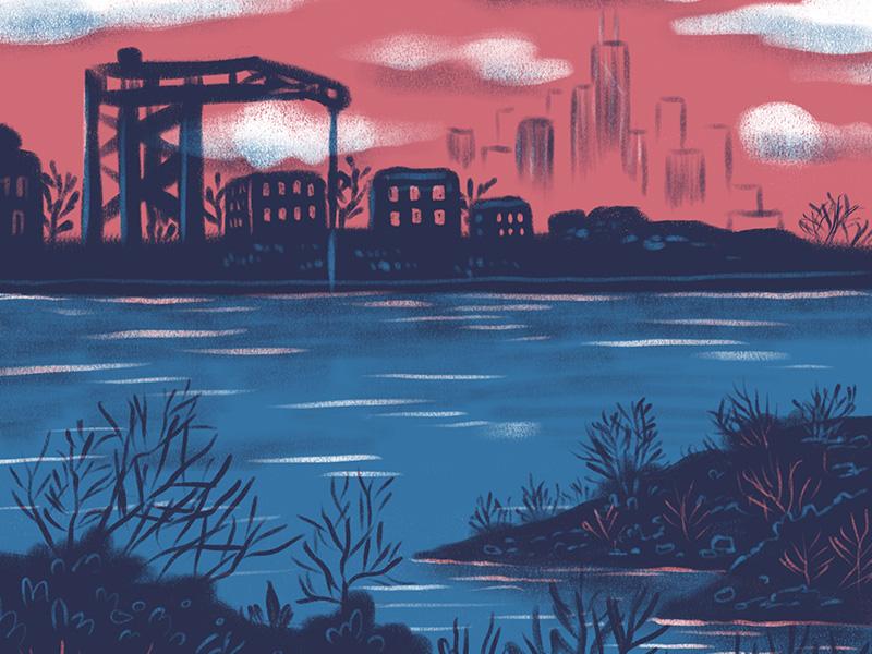Two Color Test 4 river scene two color digital illustration drawing