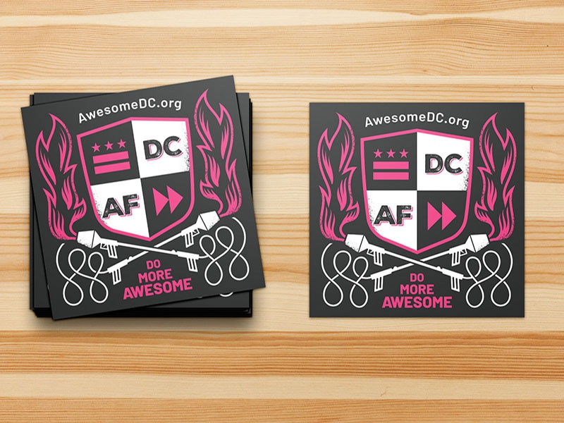 Awesome Foundation DC Sticker flamethrower flames shield crest black white pink awesome sticker