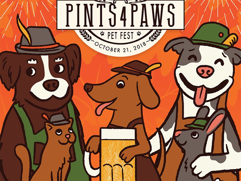 AWLA Pints 4 Paws Poster illustration beer oktoberfest rescue awla rabbit cat dogs event poster