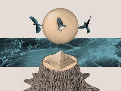 Bluebirds birds wood tree digital collage photoshop