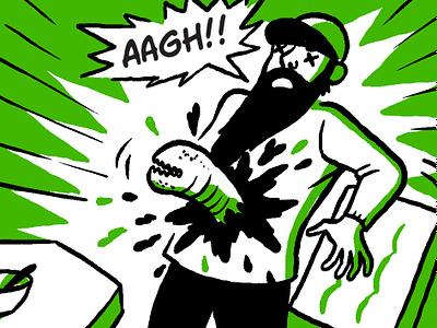Breakfast aliens green burst digital drawing cartoon comic gross alien