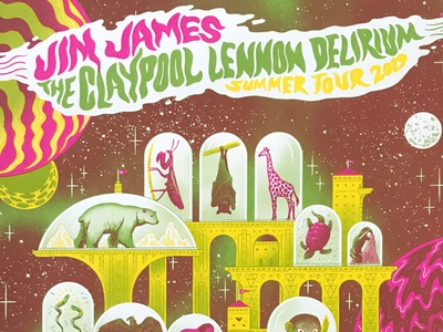 Jim James + Claypool Lennon Delirium Poster - Portland pink green yellow portland zoo animals psychedelic space 3 color delirium lennon claypool jim james merch screenprint gigposter poster