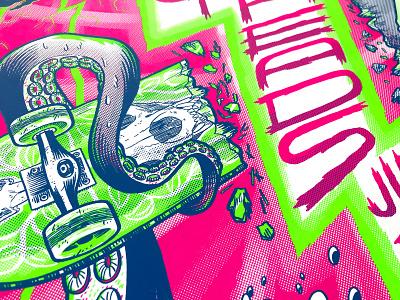 Dirty Heads Poster screenprinting poster design poster art print band music dirty heads blue green pink skate skateboard octopus screenprint poster gigposter