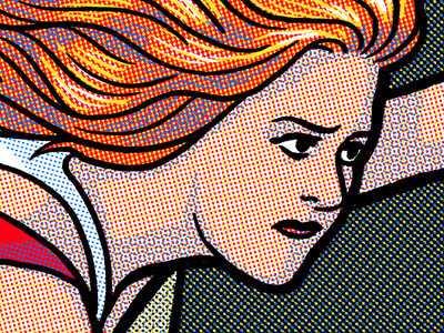 Halftone! poster gigposter illustration woman 4 color halftone screenprint