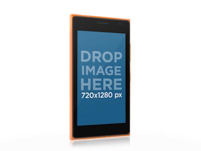 Windows Phone Mockup of Angled Orange Nokia Lumia 730 by