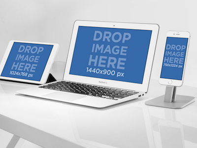 iPhone 6 Macbook Air 11inch and iPad Mini White Mockup Template by ...