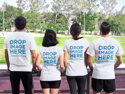 T-Shirt Mockup of a Group of Friends at a Running Track