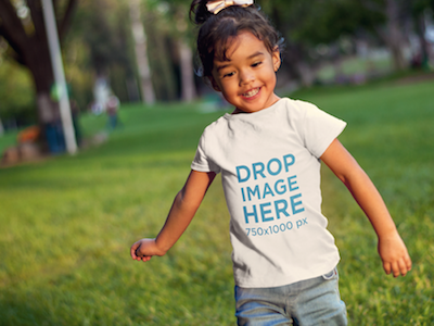 Little Girl Running at a Park T-Shirt Mockup