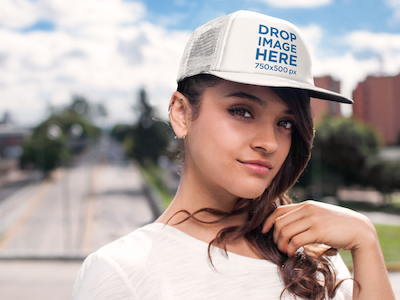 Young Woman Walking Through a Pedestrian Bridge Hat Mockup
