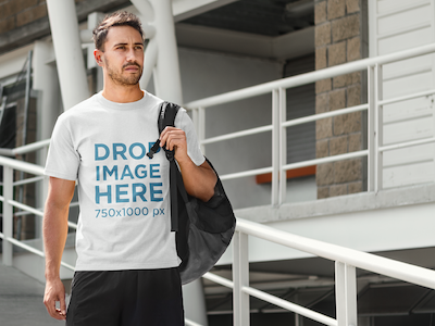 Man On His Way to Soccer Practice T-Shirt Mockup