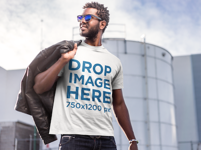 Stylish Young Man at an Industrial Site T-Shirt Mockup