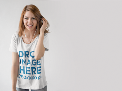 T-Shirt Mockup of a Young Woman Listening to Music