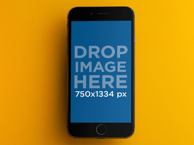 iPhone Mockup in Front of a Yellow Background