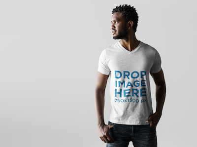 T-Shirt Mockup Featuring a Male Model in a Photoshoot
