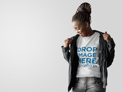 T-Shirt Mockup of a Woman Wearing a Leather Jacket