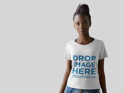 Beautiful Black Woman at a Photo Studio T-Shirt Mockup