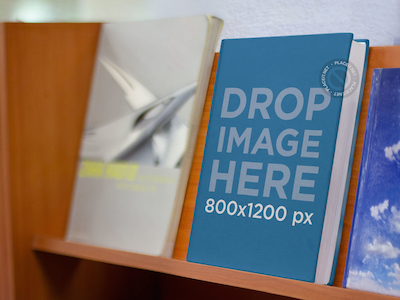 E-Book Mockup Standing on a Shelf at a Bookstore