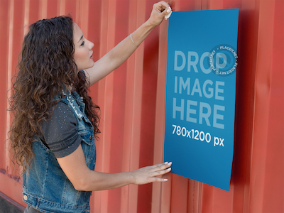 Poster Mockup of a Girl Taping a Poster to a Container