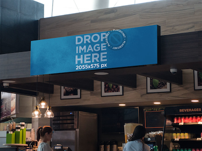 Horizontal Banner Mockup at a Coffee Stand in an Airport