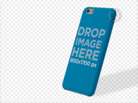 Phone Case Mockup of an iPhone 6 Over a PNG Background