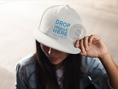 Snapback Hat Mockup of a Trendy Girl