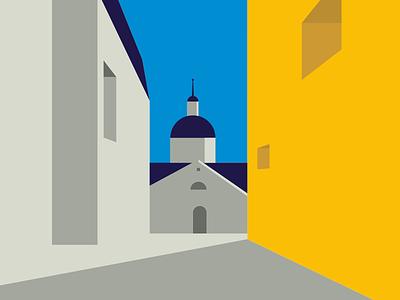 Spain flat sky color building architecture design drawing illustration spain