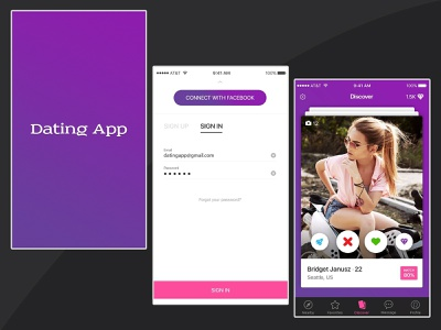 Dating Application UI application ux ui card app business app icon flat  design graphic design ui ux design application design social media app chat application dating app