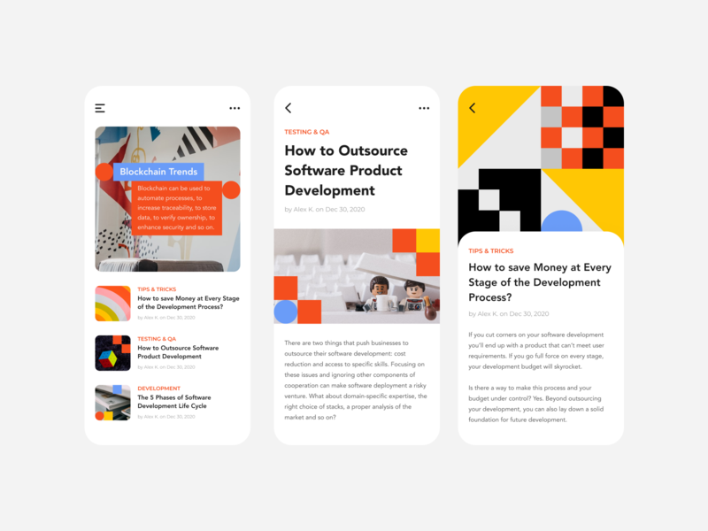 TestFort Geometric Blog Redesign responsive mobile ui app ios mobile website daily clean uxui ux uidesign uiux ui redesign yellow minimalism illustrations blog geometric