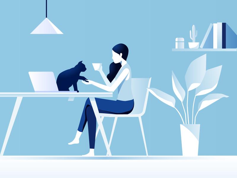 Cat Tea website breaking white blue tea cat girl illustration