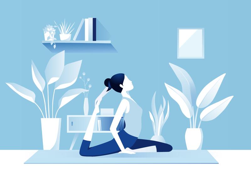 Practice Yoga blue plants yoga design girl illustration