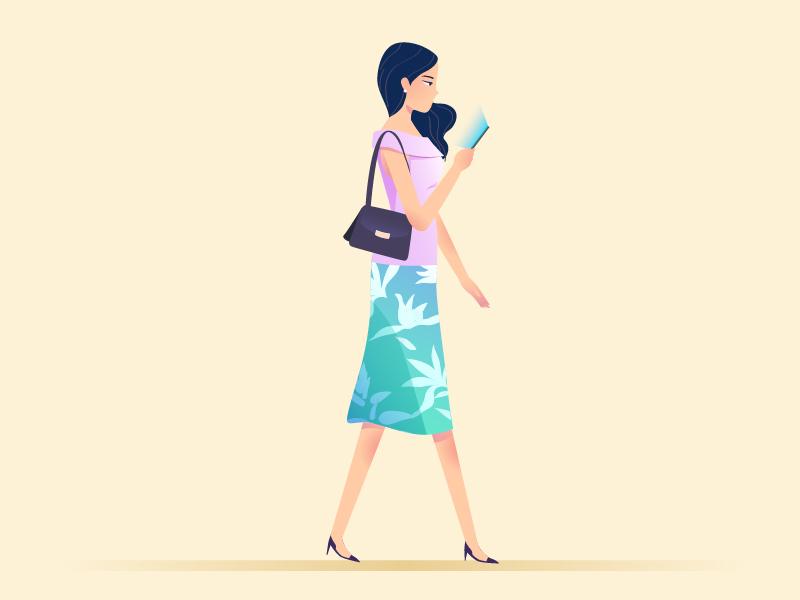 Walking beauty phone women walk illustration