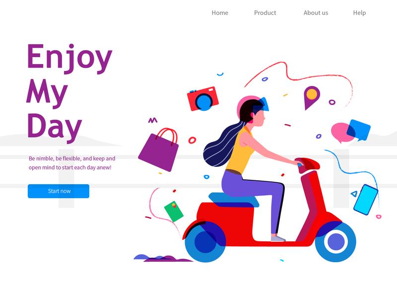 Enjoy my day electric vehicle girl web illustration
