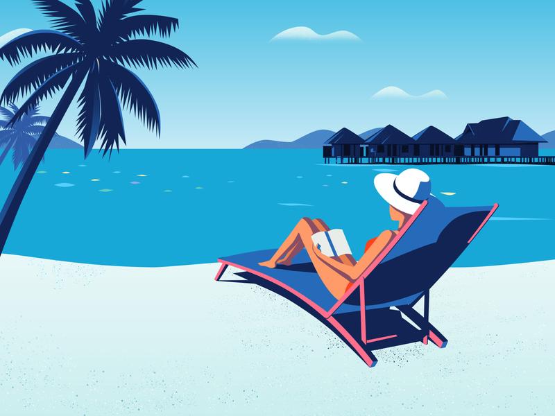 Girl relaxing on beach hat relax beach journey girl illustration
