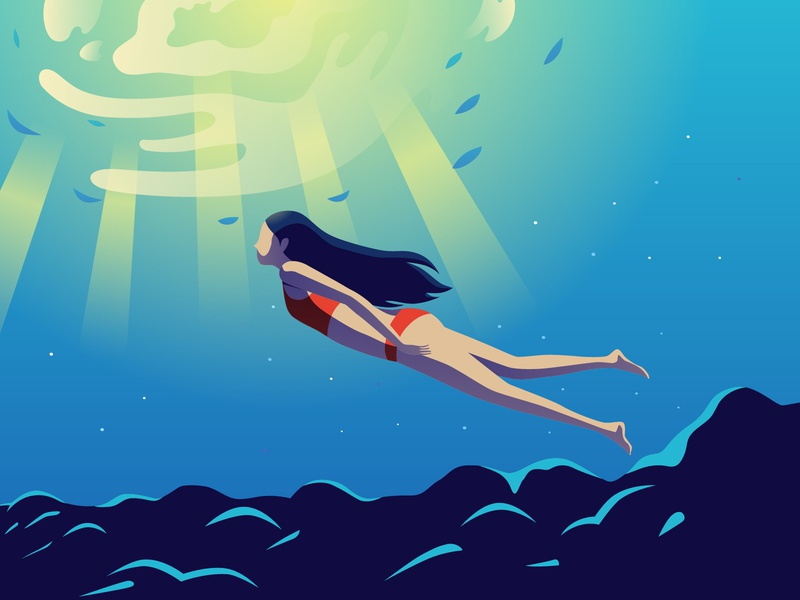 Floating in beautiful  natural ocean floating diving ocean women girl illustration