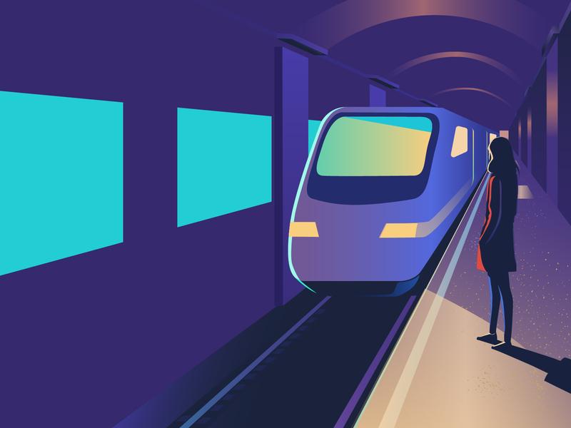 Waiting for the subway station underground train subway woman girl illustration