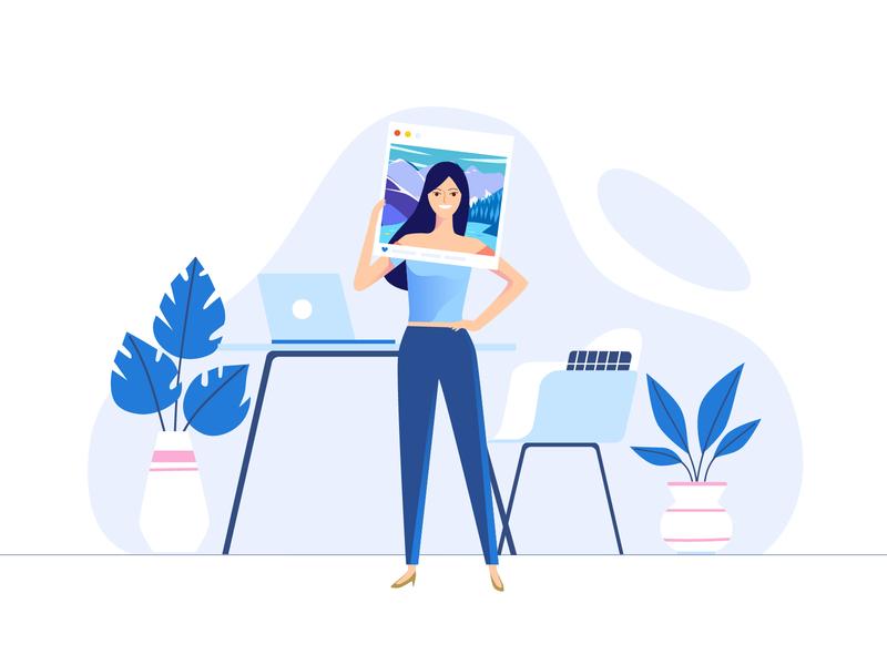 Pretend to be traveling avatar travel office girl illustration