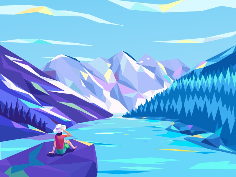 Beautiful View colorful art low poly view snow mountain snow moutains lake girl illustration